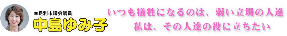 前 足利市議会議員 中島ゆみ子 ホームページ